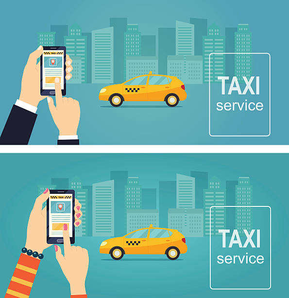 Taxi service. Uber. Smartphone and touchscreen. Vector flat illustration. vector art illustration