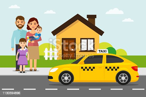 Yellow taxi with passengers and house. Taxi service vector illustration in flat style.