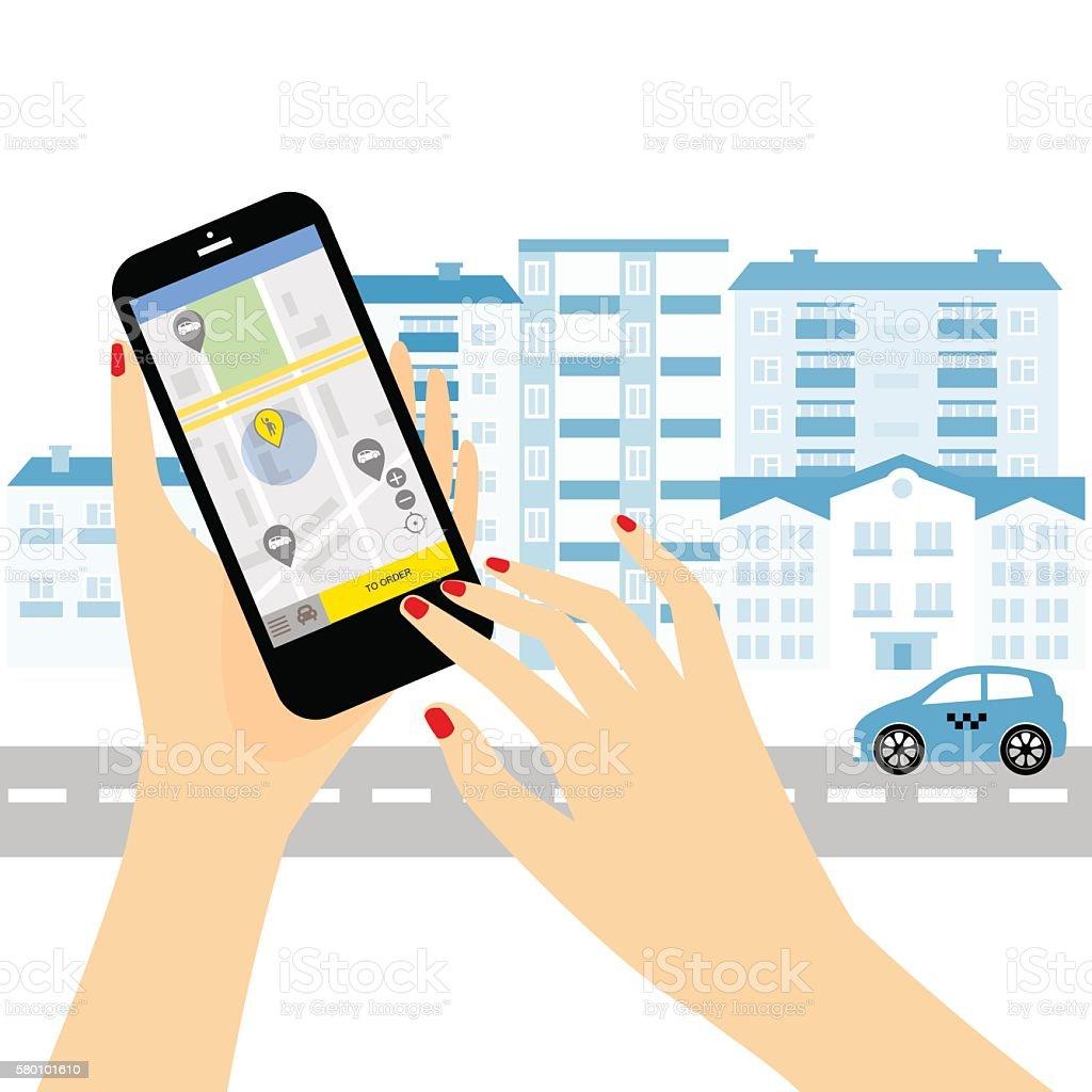 Taxi service. vector art illustration