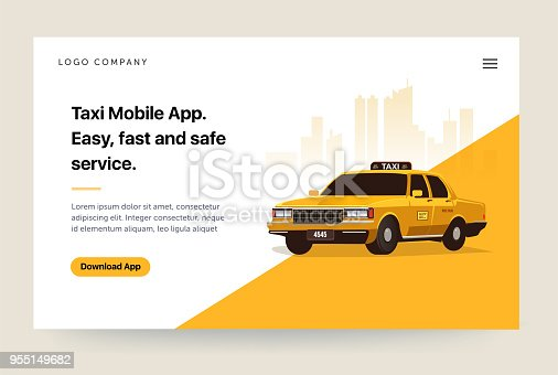 Taxi services mobile app website template. Retro yellow cab illustration. Home page concept. UI design mockup
