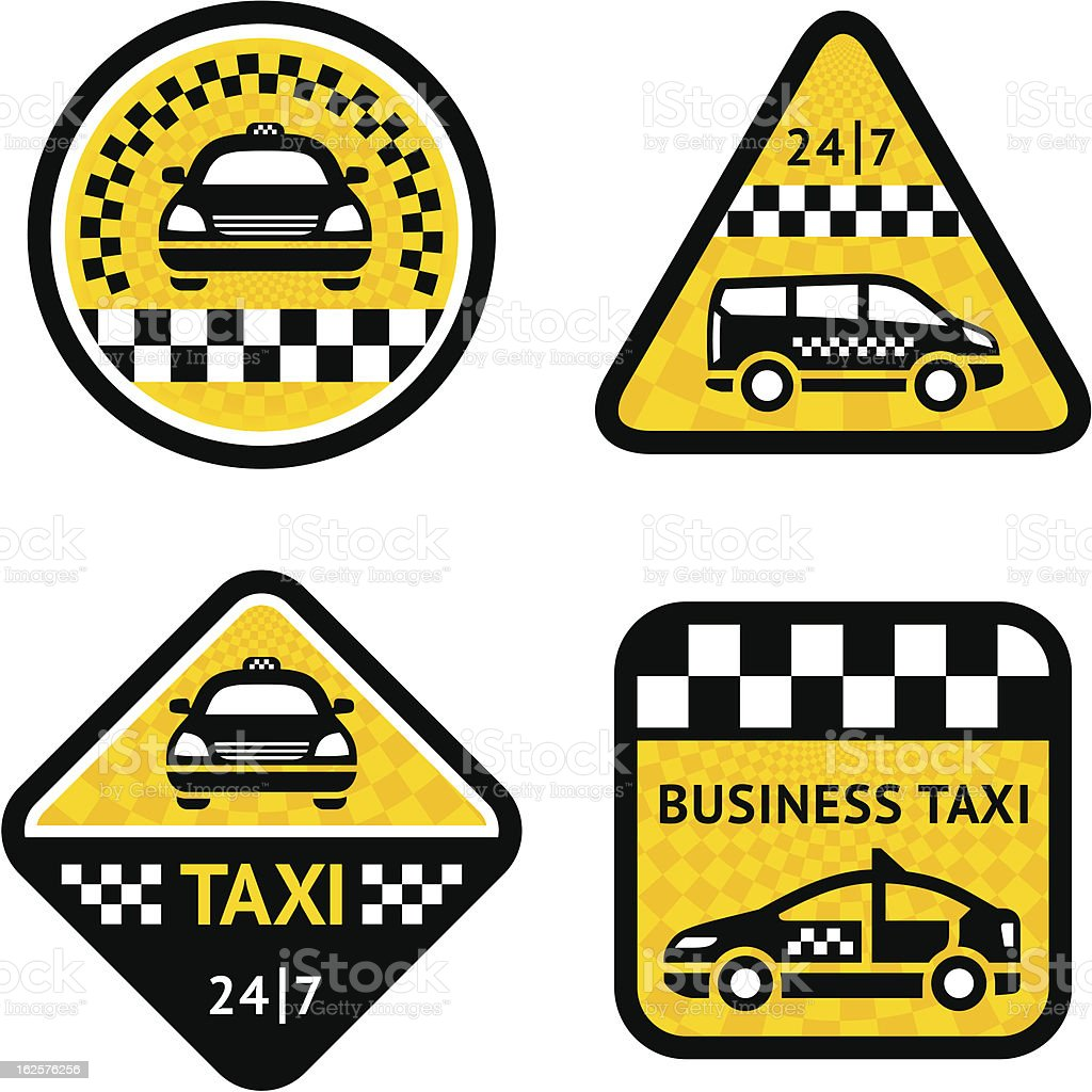 Taxi - set four stickers royalty-free taxi set four stickers stock vector art & more images of badge