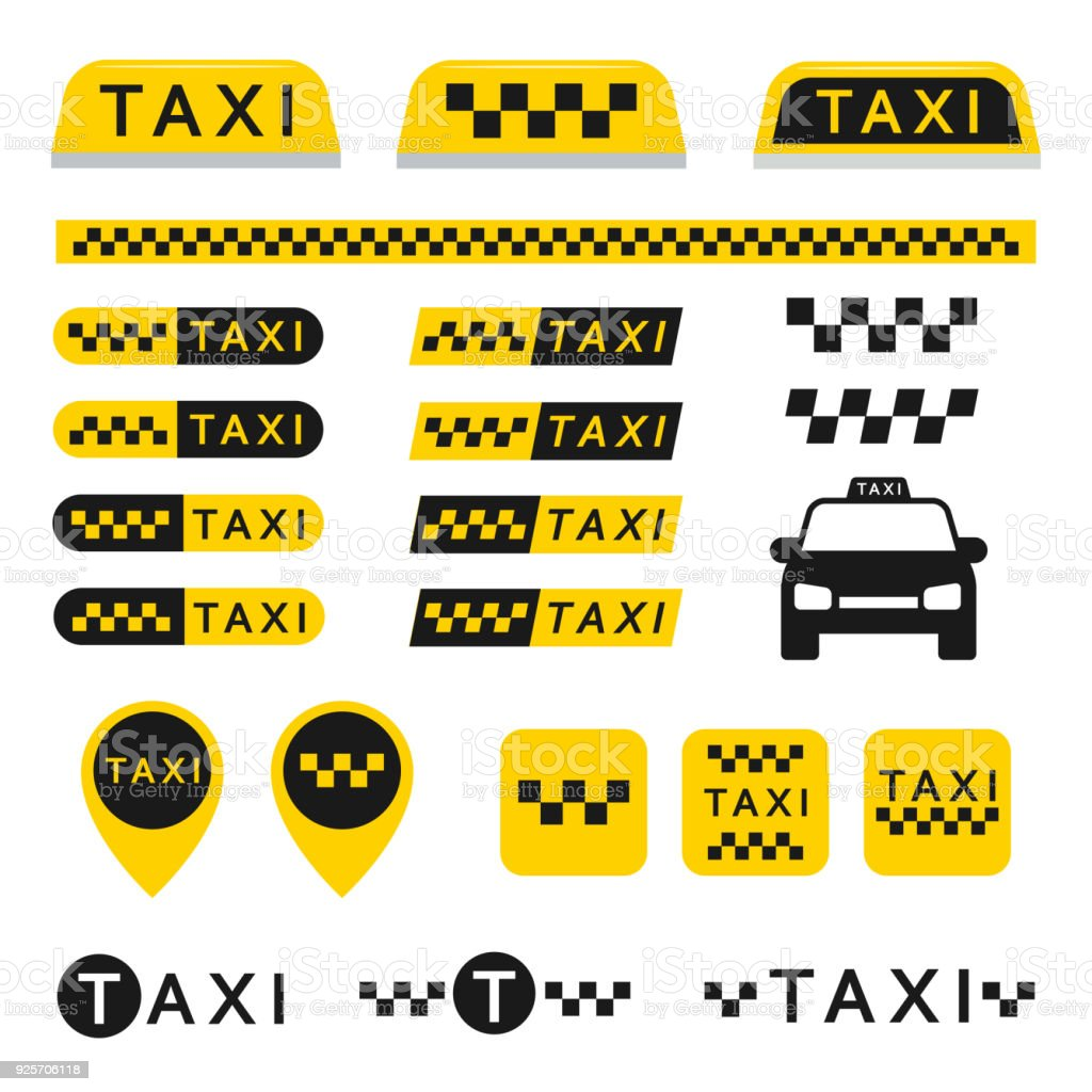 Taxi set icons vector art illustration