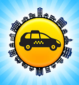 Taxi Sign on Rural Cityscape Skyline Background. The main object in this illustration is depicted inside a circle in the center of the composition, there is a rural street cityscape design going around the circle to indicate the suburban setting of the image. The buildings include a variety of houses and suburban architectural structures. This image is ideal for real estate and  life concepts.