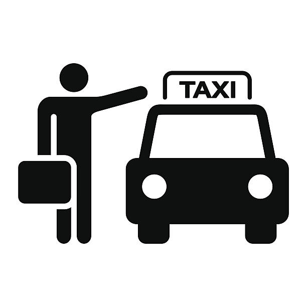 Taxi Sign Silhouette Travel Illustration of a taxi cab and passenger waving. EPS version 10 with transparency included in download. hailing a ride stock illustrations