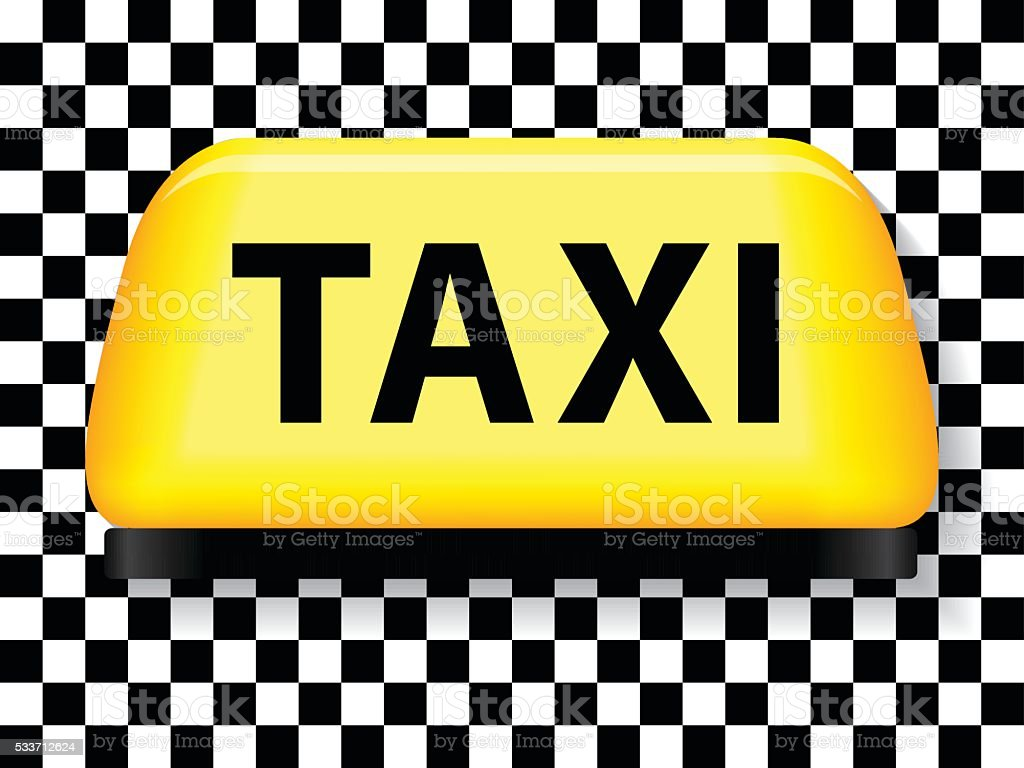 Taxi sign with checkered background vector art illustration