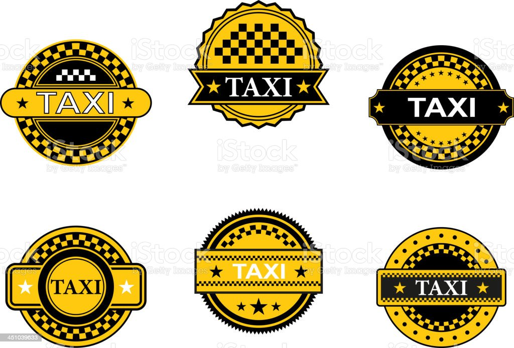 Taxi symbols and signs royalty-free stock vector art