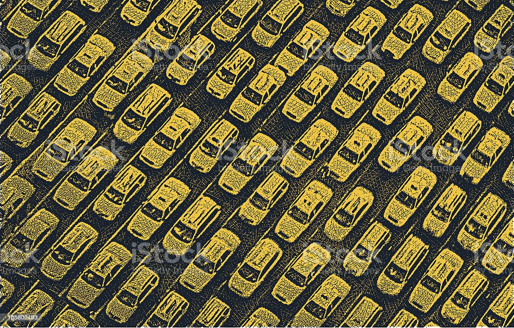 Taxi Traffic Jam vector art illustration