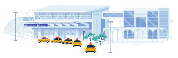 Taxi Transportation Services for Air Passengers. Taxi Transportation Services for Passengers and Tourists Traveling by Airplane. Yellow Taxicabs Queue on Parking near Airport Terminal Building Waiting for Clients. Flat Cartoon Vector Illustration. airport backgrounds stock illustrations