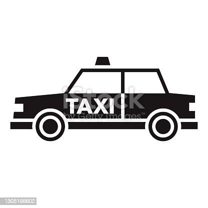 istock Taxi Travel Glyph Icon 1305166602