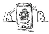 Hand-drawn vector drawing of a Taxi Trip Service App on a Smart Phone. Transportation from A to B Concept. Black-and-White sketch on a transparent background (.eps-file). Included files are EPS (v10) and Hi-Res JPG.