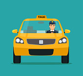 Taxi with Smiling driver in Windows. Taxi service.Vector flat style illustration