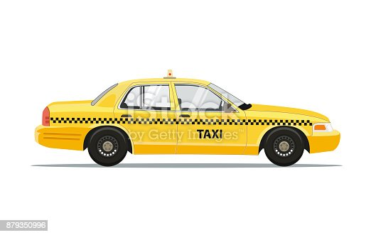 istock Taxi Yellow Car Cab Isolated on white background. Vector Illustration. 879350996