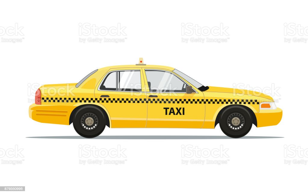 Taxi Yellow Car Cab Isolated on white background. Vector Illustration. vector art illustration