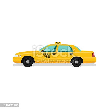 Taxi yellow car cab. Flat vector illustration on white background, in cartoon style.10 eps.