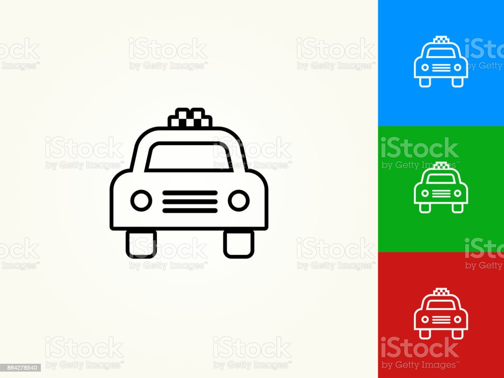 Taxicab Black Stroke Linear Icon royalty-free taxicab black stroke linear icon stock vector art & more images of black color