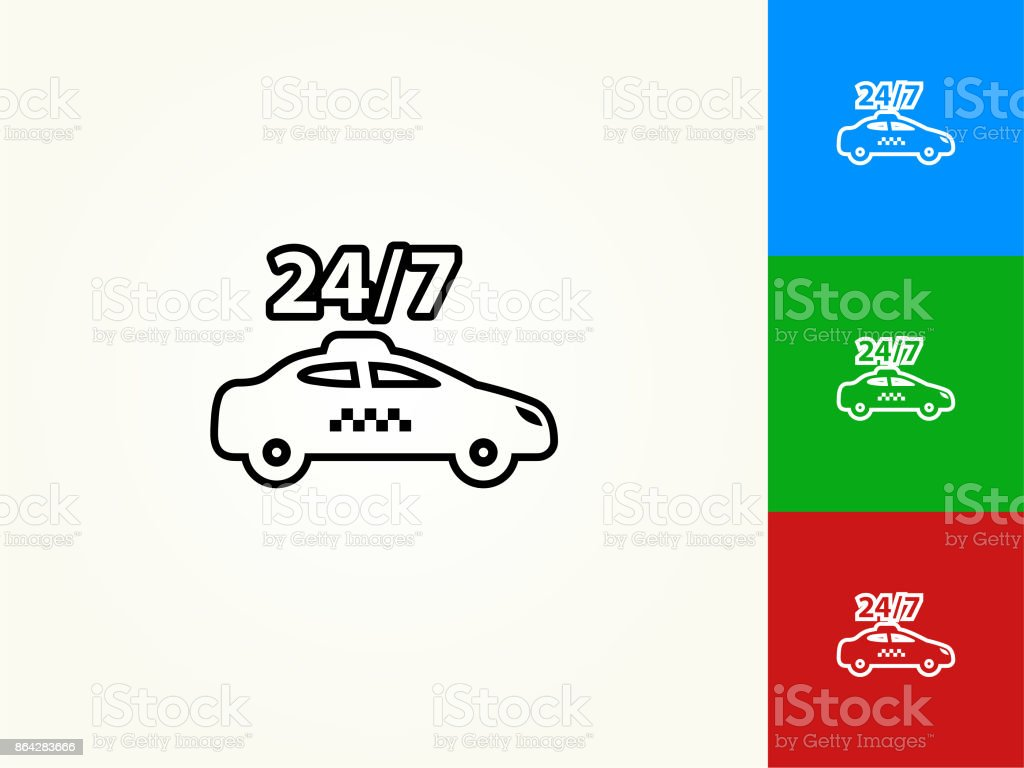 24/7 Taxicab Black Stroke Linear Icon royalty-free 247 taxicab black stroke linear icon stock vector art & more images of 24-7
