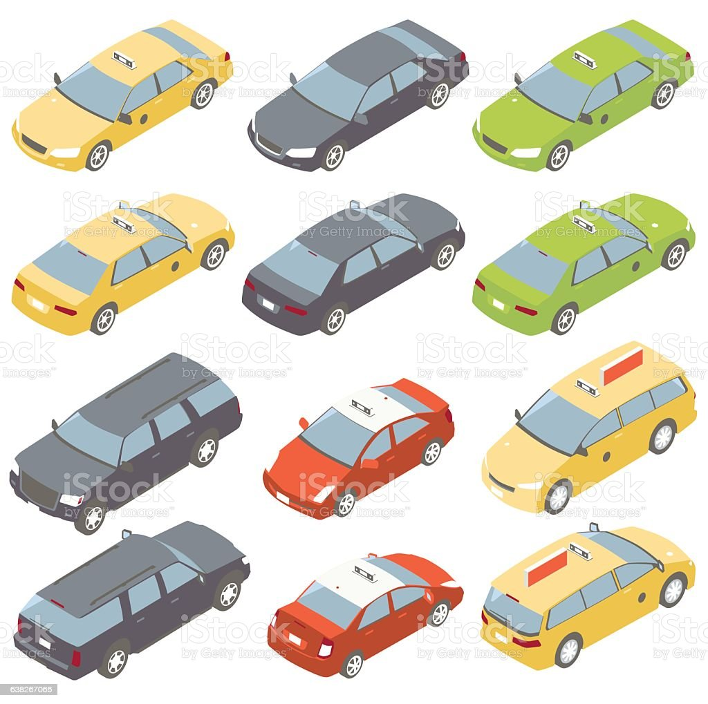 Taxis Isometric Illustration vector art illustration