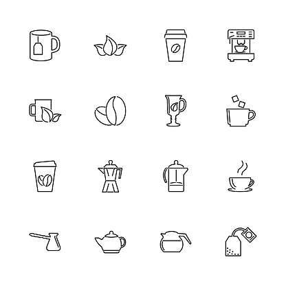 Tea and Coffee - Flat Vector Icons