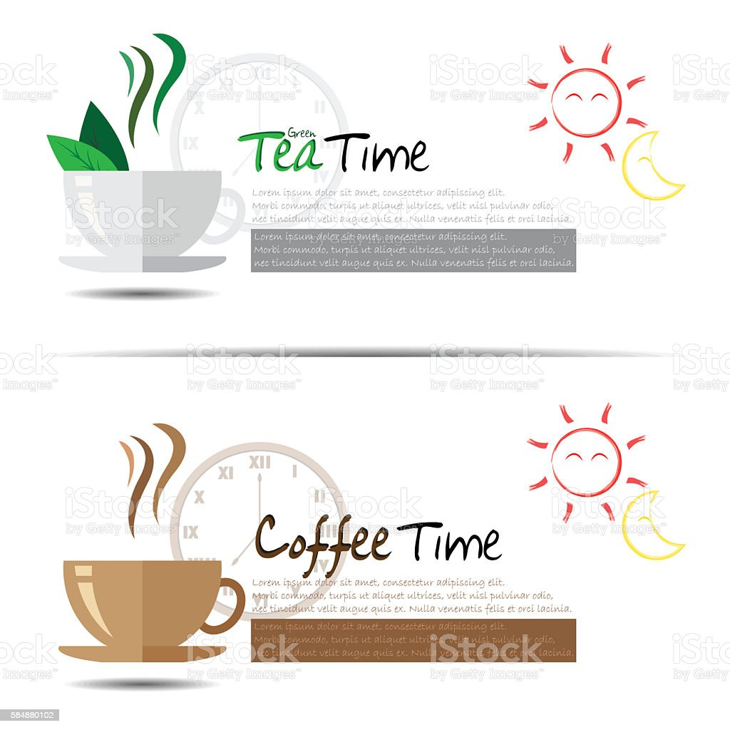 Tea and Coffee Time. vector art illustration
