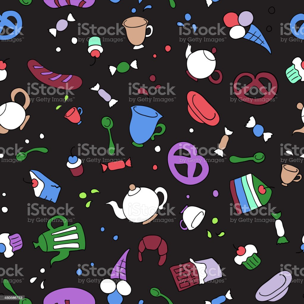 Tea and sweets seamless background royalty-free stock vector art