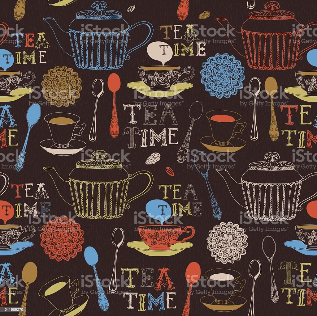 Tea and sweets seamless doodle pattern. vector art illustration