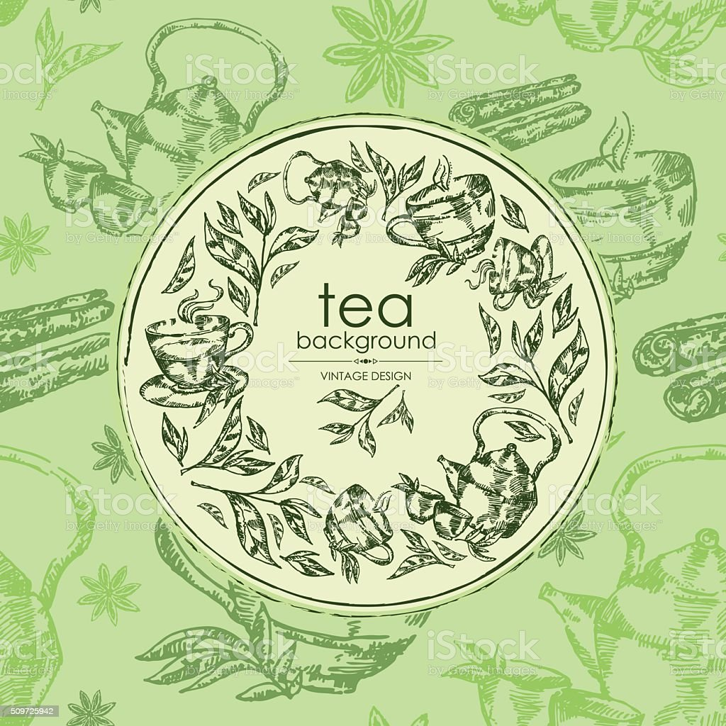 Tea background with  tea leaf and cup of tea . hand drawn vector art illustration
