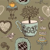Tea background with tree and sweets. Vector illustration.