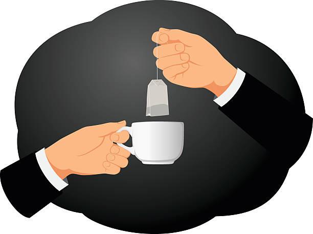 stockillustraties, clipart, cartoons en iconen met tea bag and cup - dubbelopname businessman