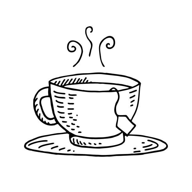 stockillustraties, clipart, cartoons en iconen met theezakje handgetekende illustratie - theekop