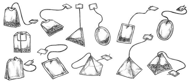 Tea beverage bag with label isolated sketch set