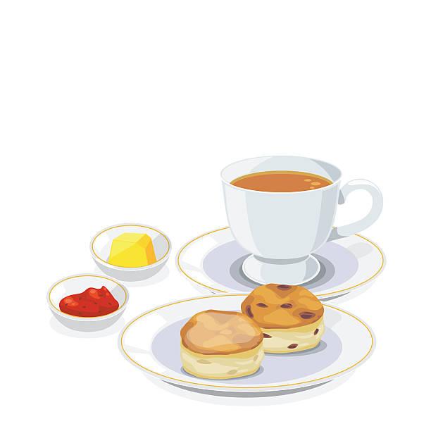 bildbanksillustrationer, clip art samt tecknat material och ikoner med tea break - scone