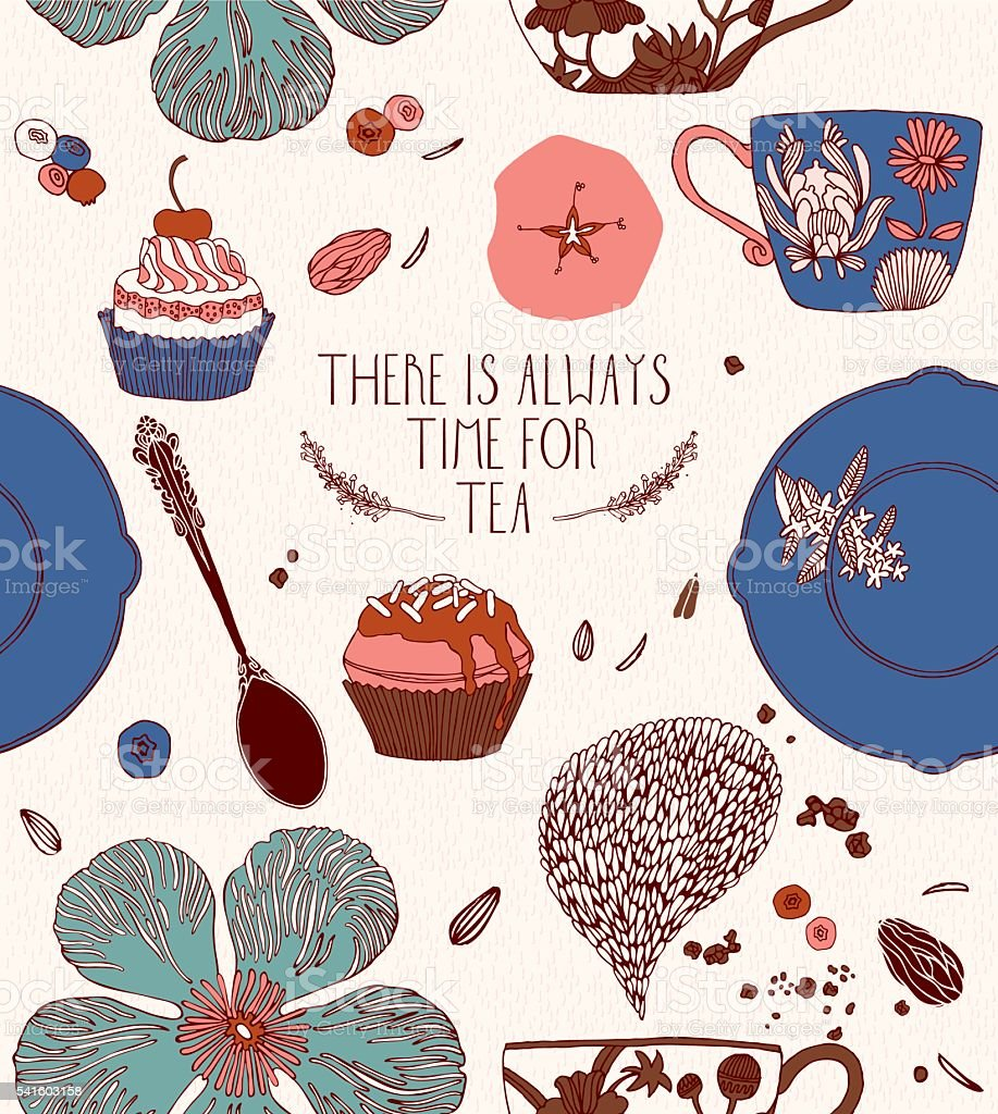 Tea card design. Greeting card. vector art illustration