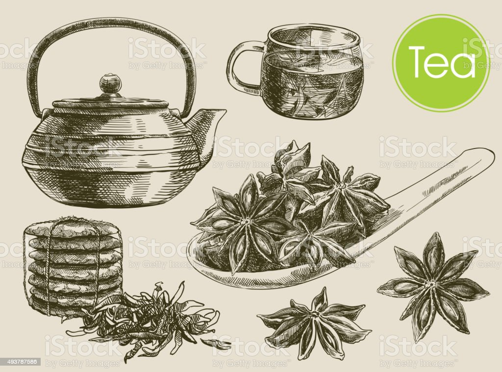 tea ceremony background vector art illustration