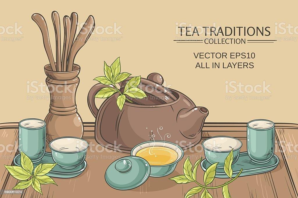 tea ceremony illustration vector art illustration
