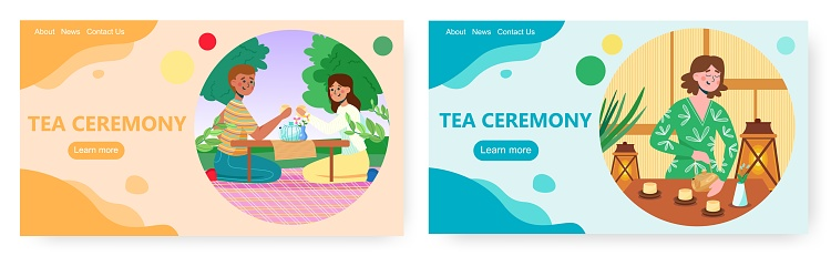 Tea ceremony landing page design, website banner vector template set. Asian culture and traditions.