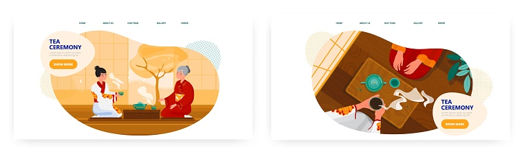 Tea ceremony landing page design, website banner vector templates. Women in kimono drinking tea. Asian culture tradition