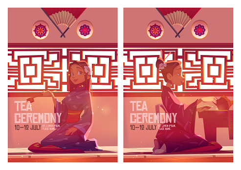 Tea ceremony posters with girl in kimono