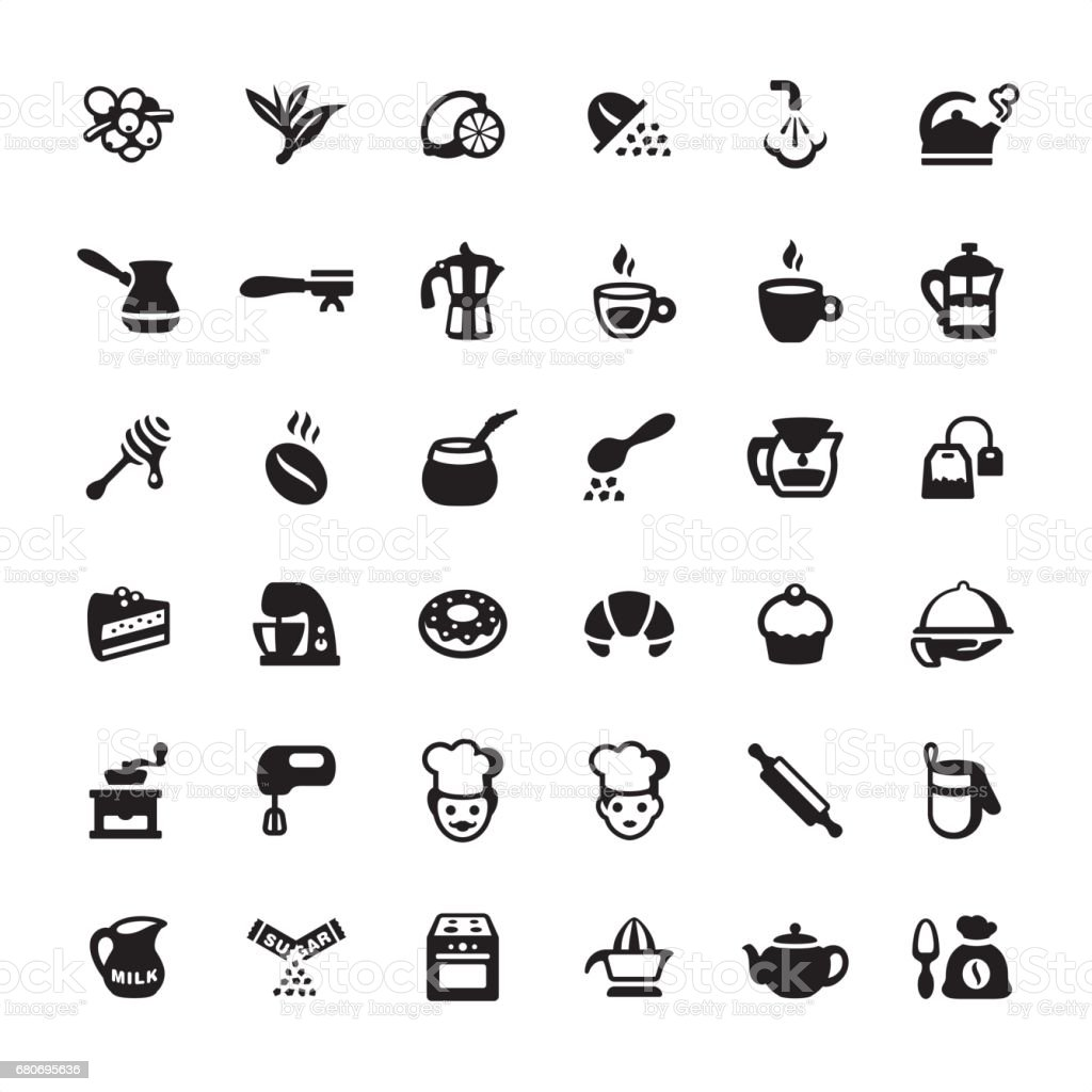 Tea, Coffee and Bakery - icons set vector art illustration