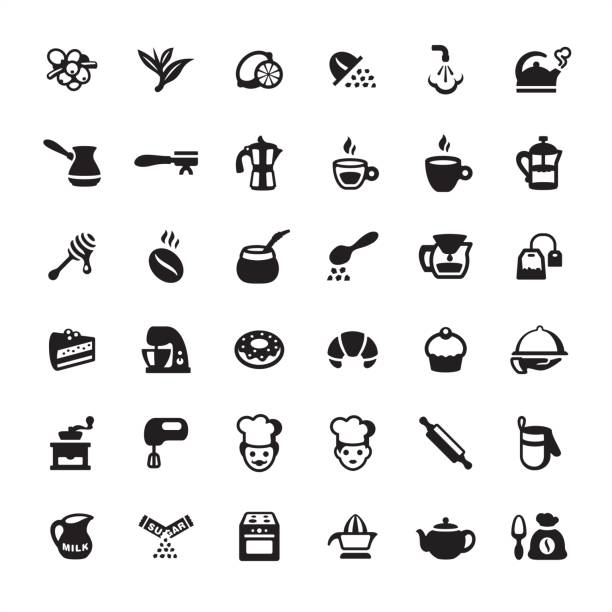 tea, coffee and bakery - icons set - barista stock illustrations, clip art, cartoons, & icons
