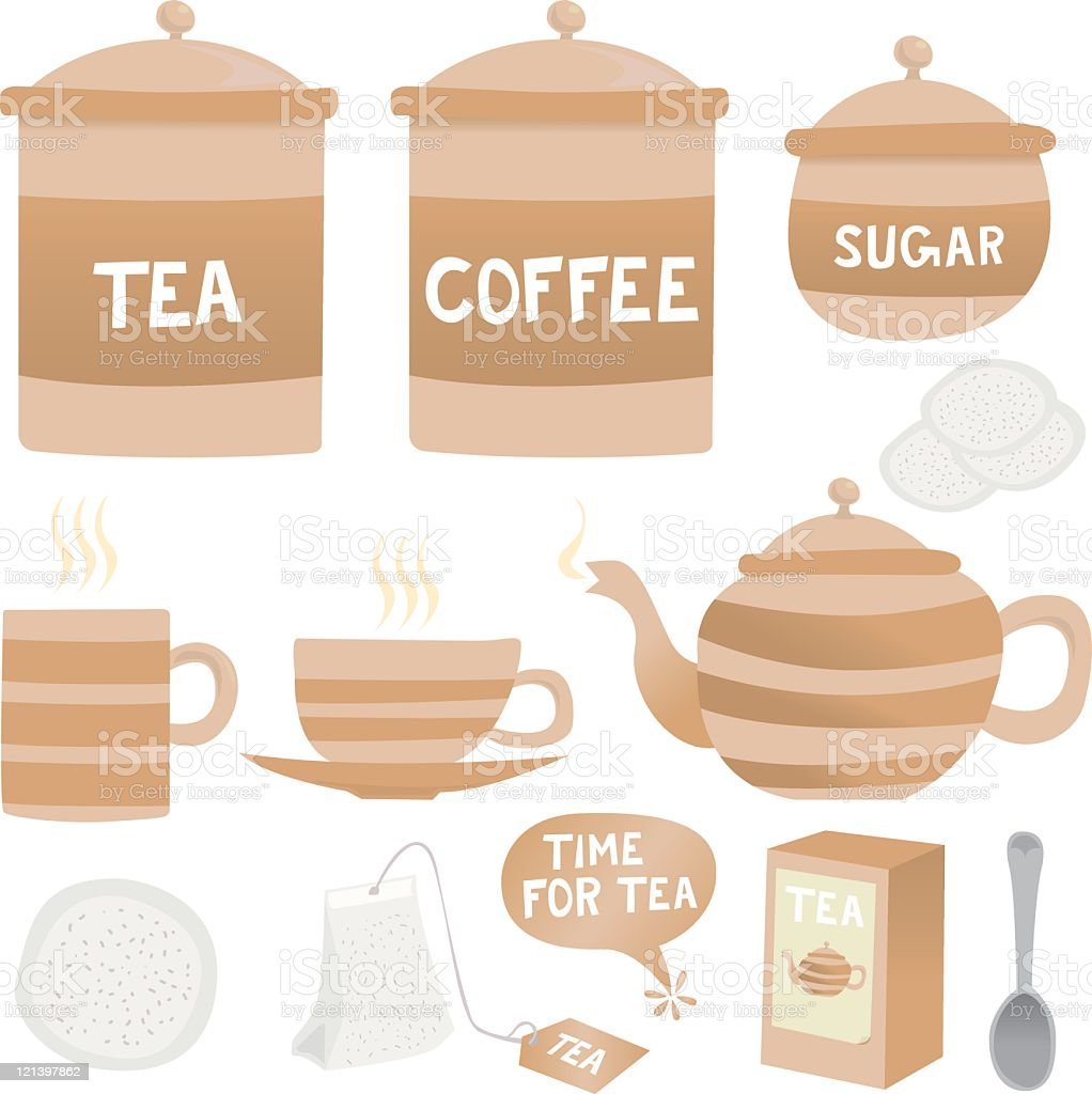 Tea, coffee and crockery icons royalty-free stock vector art