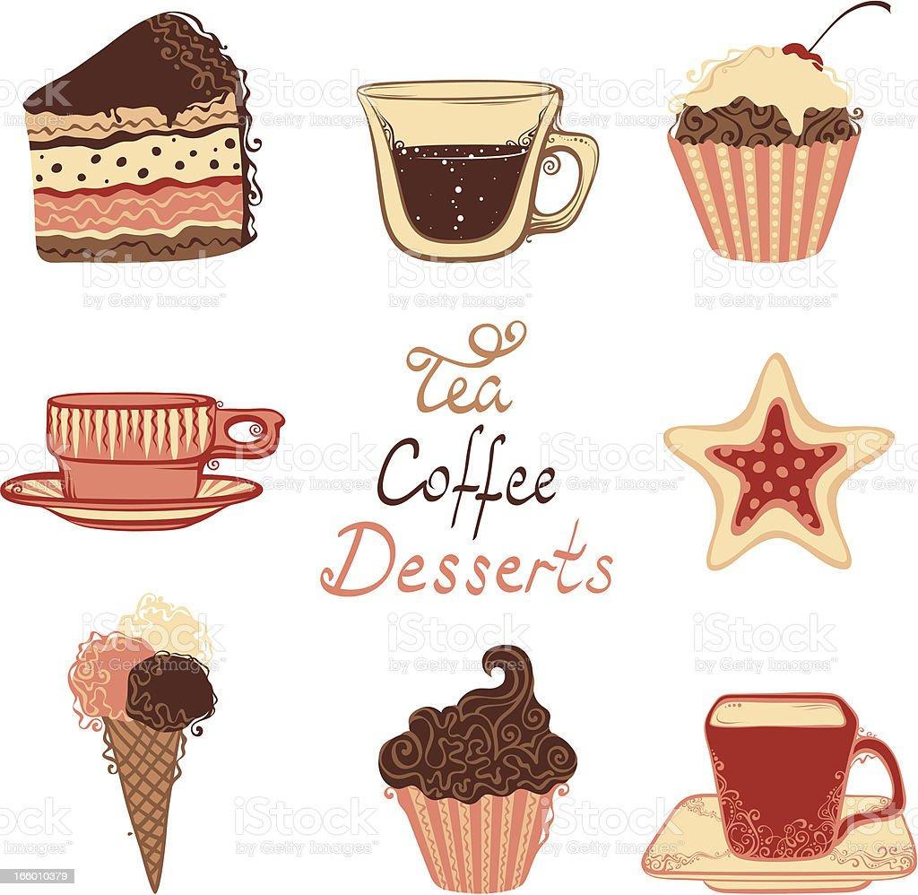 Tea, coffee and dessert icons vector art illustration
