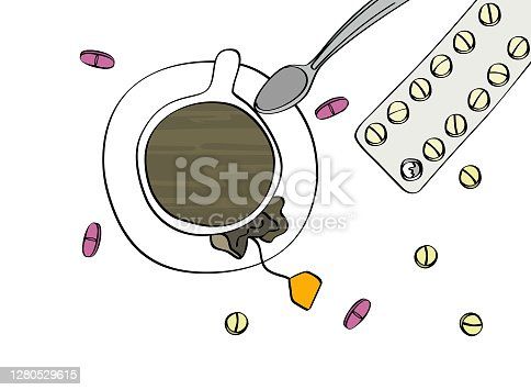 Tea, coffee cup with pills and a pill blister. Illness, medicine. Top view isolated on white background. Cartoon style vector illustration.
