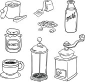Tea and Coffee equipment in black and white