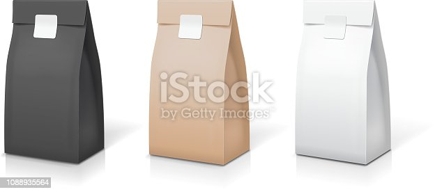 Tea coffee paper packaging collection. Food foil package bag set. Snack sachet pack isolated vector illustration.
