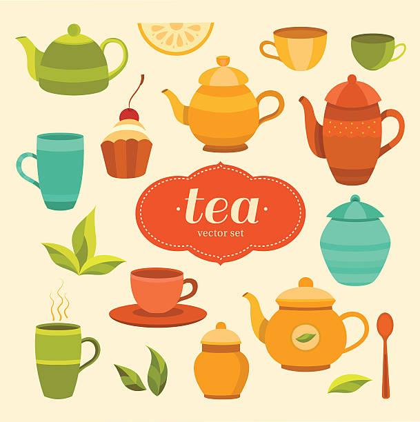 illustrazioni stock, clip art, cartoni animati e icone di tendenza di tea collection of vector elements - camellia sinensis