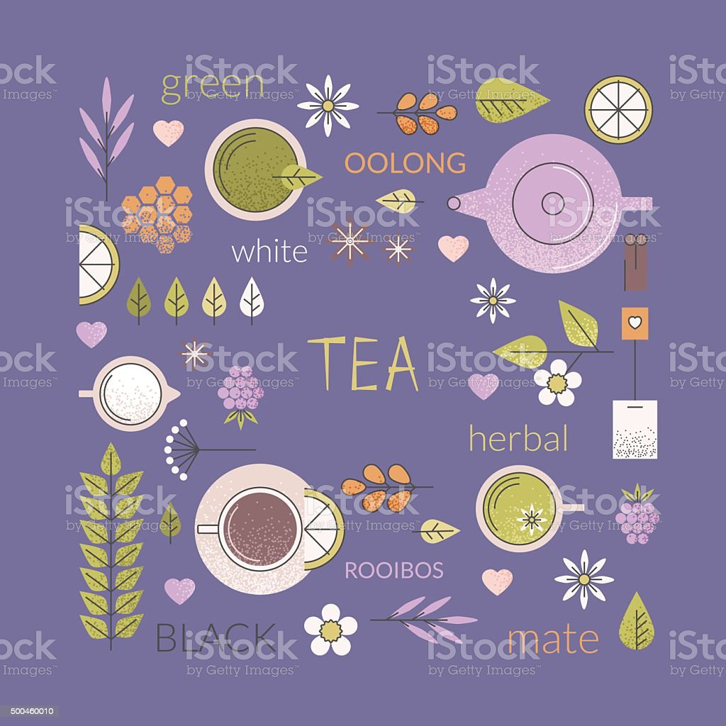 Tea culture background vector art illustration