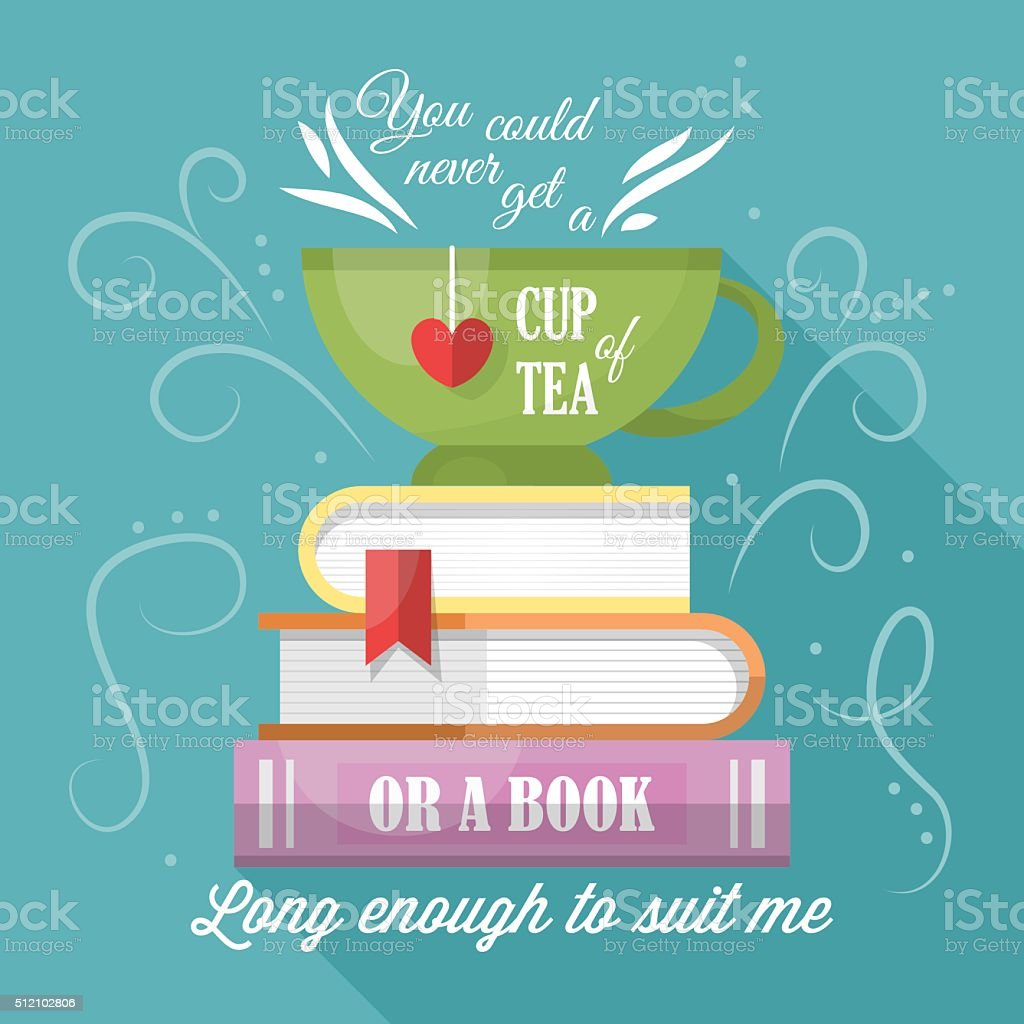 Typographic Book Cover Vector ~ Tea cup and books modern typography poster design stock