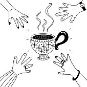 istock Tea cup and hand in line 1339682665