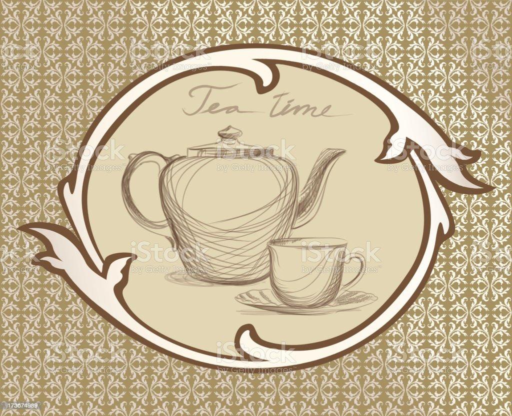 T tetera taza y etiqueta de estilo vintage arte for Tazas de te estilo vintage