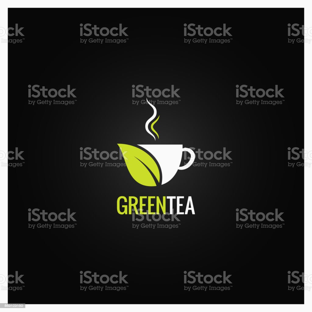 Tea cup concept design. Green organic tea background vector art illustration